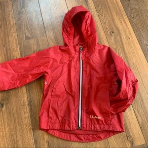 LL BEAN kids red rain jacket size 4 GUC!!
